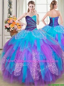 Captivating Multi-color Sleeveless Beading and Ruffles Floor Length Quinceanera Gowns