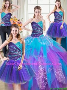 Four Piece Multi-color Sleeveless Tulle Lace Up Sweet 16 Dresses for Military Ball and Sweet 16 and Quinceanera