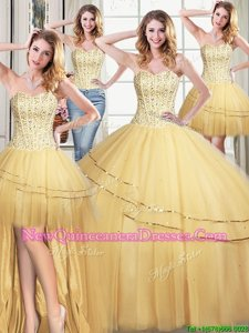 Best Selling Four Piece Gold Sweetheart Neckline Beading and Sequins Quinceanera Gown Sleeveless Lace Up