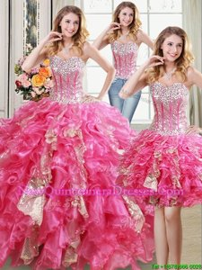 Glamorous Three Piece Sweetheart Sleeveless Organza Sweet 16 Quinceanera Dress Beading and Ruffles and Sequins Lace Up