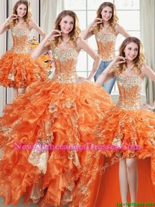 Fantastic Four Piece Sequins Floor Length Ball Gowns Sleeveless Orange Vestidos de Quinceanera Lace Up