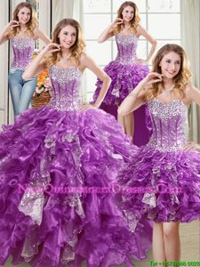 Flare Four Piece Purple Sleeveless Floor Length Beading and Ruffles and Sequins Lace Up Quinceanera Dresses
