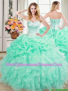 Luxury Pick Ups Apple Green Sleeveless Organza Lace Up Sweet 16 Dress for Military Ball and Sweet 16 and Quinceanera