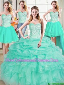 Customized Four Piece Spring and Summer and Fall and Winter Organza Sleeveless Floor Length 15th Birthday Dress andBeading and Ruffles and Pick Ups