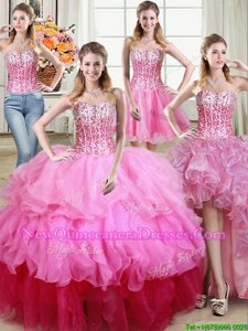 Traditional Four Piece Multi-color Lace Up Sweetheart Ruffles and Sequins Quinceanera Dress Organza Sleeveless