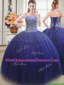 Custom Design Ball Gowns Quinceanera Dresses Royal Blue Sweetheart Tulle Sleeveless Floor Length Lace Up
