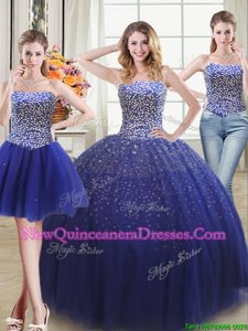 Extravagant Three Piece Royal Blue Ball Gowns Sweetheart Sleeveless Tulle Floor Length Lace Up Beading 15 Quinceanera Dress
