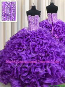 Pretty Eggplant Purple Lace Up Sweetheart Beading Sweet 16 Quinceanera Dress Fabric With Rolling Flowers Sleeveless