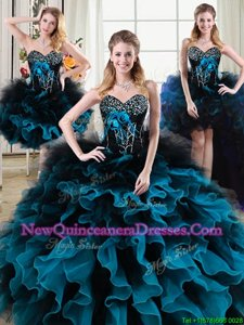 Superior Four Piece Black and Blue Lace Up Vestidos de Quinceanera Beading and Ruffles and Hand Made Flower Sleeveless Floor Length