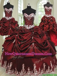 Four Piece Wine Red Taffeta Lace Up Vestidos de Quinceanera Sleeveless Floor Length Beading and Appliques and Pick Ups