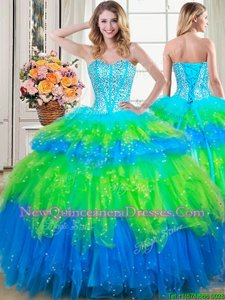 Great Multi-color Sleeveless Beading and Ruffled Layers Floor Length Ball Gown Prom Dress