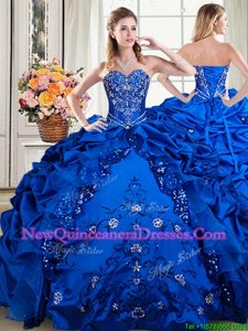 Pick Ups Floor Length Ball Gowns Sleeveless Royal Blue 15 Quinceanera Dress Lace Up