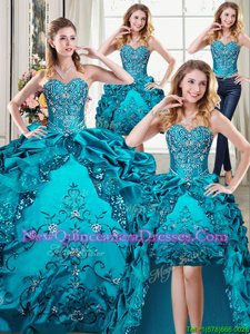 Exquisite Four Piece Floor Length Teal Quinceanera Gown Organza and Taffeta Sleeveless Spring and Summer and Fall and Winter Beading and Embroidery and Pick Ups