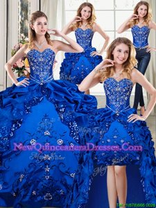 Deluxe Four Piece Spring and Summer and Fall and Winter Organza and Taffeta Sleeveless Floor Length Quinceanera Gowns andBeading and Embroidery and Pick Ups