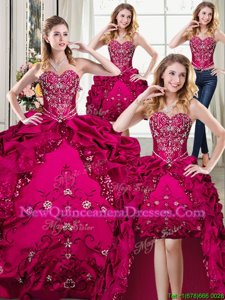 Four Piece Fuchsia Ball Gowns Beading and Embroidery Vestidos de Quinceanera Lace Up Organza and Taffeta Sleeveless Floor Length