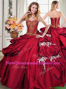 Custom Design Beading and Appliques and Pick Ups Quinceanera Gowns Wine Red Lace Up Sleeveless Floor Length