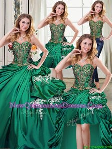 Discount Four Piece Sweetheart Sleeveless Taffeta 15 Quinceanera Dress Beading and Appliques and Pick Ups Lace Up
