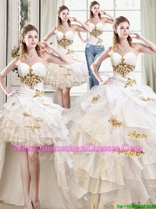 Four Piece Sweetheart Sleeveless Quinceanera Gowns Floor Length Beading and Ruffles White Organza