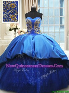 Royal Blue Quinceanera Gowns Military Ball and Sweet 16 and Quinceanera and For withBeading and Embroidery Sweetheart Sleeveless Court Train Lace Up