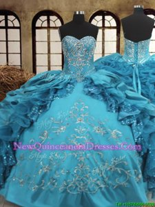 Superior Ball Gowns Quince Ball Gowns Teal Sweetheart Organza and Taffeta Sleeveless Floor Length Lace Up