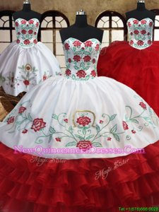 Perfect Three Piece White and Red Sweetheart Lace Up Embroidery and Ruffled Layers Quinceanera Dresses Sleeveless