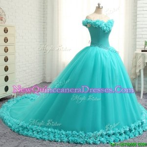 Fashion Aqua Blue Off The Shoulder Lace Up Hand Made Flower Ball Gown Prom Dress Court Train Cap Sleeves