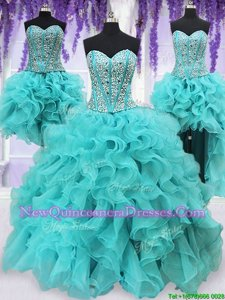 Deluxe Four Piece Aqua Blue Vestidos de Quinceanera Military Ball and Sweet 16 and Quinceanera and For withBeading and Ruffles Sweetheart Sleeveless Lace Up