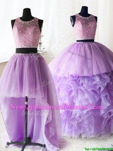 Stunning Three Piece Scoop Lilac Ball Gowns Beading and Lace and Ruffles Vestidos de Quinceanera Zipper Organza and Tulle Sleeveless With Train