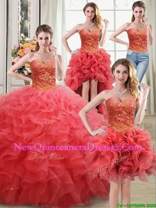 Adorable Four Piece Sweetheart Sleeveless Lace Up 15th Birthday Dress Coral Red Organza