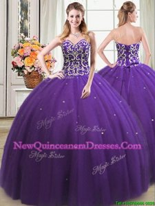 Best Purple Lace Up Sweetheart Beading Quinceanera Dress Tulle Sleeveless
