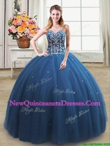 Custom Fit Teal Sleeveless Tulle Lace Up Quinceanera Dresses for Military Ball and Sweet 16 and Quinceanera