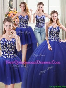 Decent Four Piece Floor Length Ball Gowns Sleeveless Royal Blue 15th Birthday Dress Lace Up