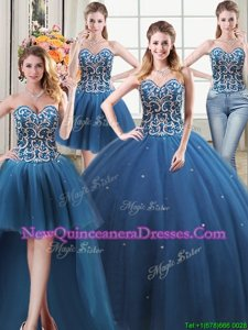 Dazzling Four Piece Teal Sleeveless Floor Length Beading Lace Up Ball Gown Prom Dress