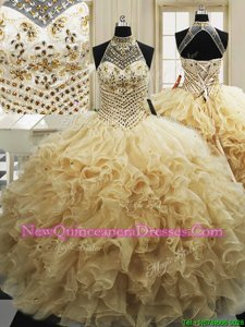 Sleeveless With Train Beading and Ruffles Lace Up Quinceanera Gowns with Champagne Sweep Train