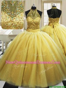 Enchanting Yellow Tulle Lace Up High-neck Sleeveless With Train Vestidos de Quinceanera Sweep Train Beading