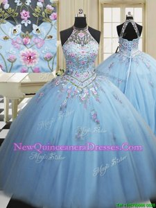 Designer Light Blue High-neck Lace Up Embroidery Quinceanera Dresses Sleeveless