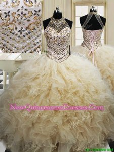 Simple Halter Top Champagne Tulle Lace Up 15 Quinceanera Dress Sleeveless Floor Length Beading and Ruffles