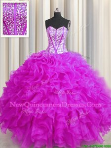 Colorful Visible Boning Beaded Bodice Fuchsia Sleeveless Floor Length Beading and Ruffles Lace Up Vestidos de Quinceanera