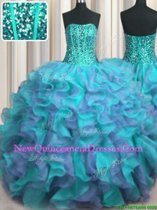 Modern Visible Boning Beaded Bodice Organza Strapless Sleeveless Lace Up Beading and Ruffles Sweet 16 Quinceanera Dress inMulti-color