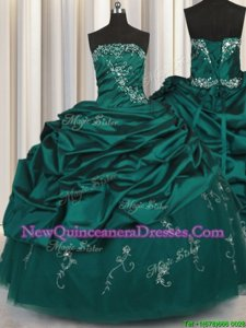 Colorful Peacock Green 15 Quinceanera Dress Military Ball and Sweet 16 and Quinceanera and For withBeading and Appliques and Embroidery and Pick Ups Strapless Sleeveless Lace Up