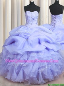 Ideal Visible Boning Lavender Ball Gowns Sweetheart Sleeveless Organza Floor Length Lace Up Beading and Ruffles 15th Birthday Dress
