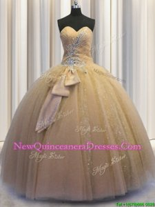 Fantastic Sequined Sleeveless Beading and Bowknot Lace Up 15 Quinceanera Dress