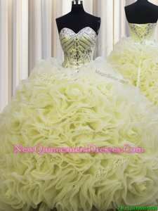 Lovely Rolling Flowers Brush Train Floor Length Ball Gowns Sleeveless Light Yellow 15th Birthday Dress Lace Up