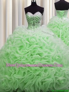 Rolling Flowers Brush Train Spring Green Lace Up Quinceanera Dress Beading and Pick Ups Sleeveless Floor Length