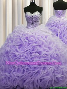 Flirting Rolling Flowers Sleeveless Brush Train Beading and Pick Ups Lace Up Quinceanera Dress