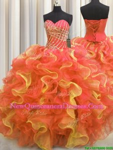 Ideal Multi-color Ball Gowns Organza Sweetheart Sleeveless Beading and Ruffles Floor Length Lace Up Sweet 16 Dresses