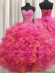 New Arrival Hot Pink Sleeveless Beading and Ruffles Floor Length Sweet 16 Dress