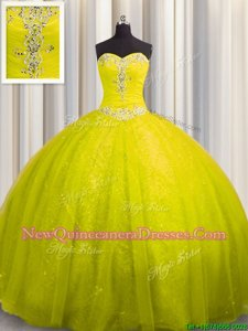 Sequined Yellow Green Sweetheart Lace Up Beading and Appliques Quinceanera Dress Court Train Sleeveless