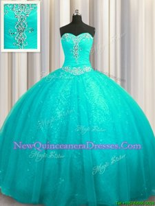 Charming Sequined Aqua Blue Sleeveless Court Train Beading and Appliques Sweet 16 Dresses