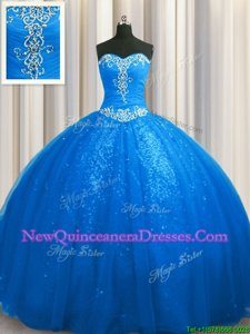Sequined Sleeveless Court Train Beading and Appliques Lace Up Sweet 16 Quinceanera Dress